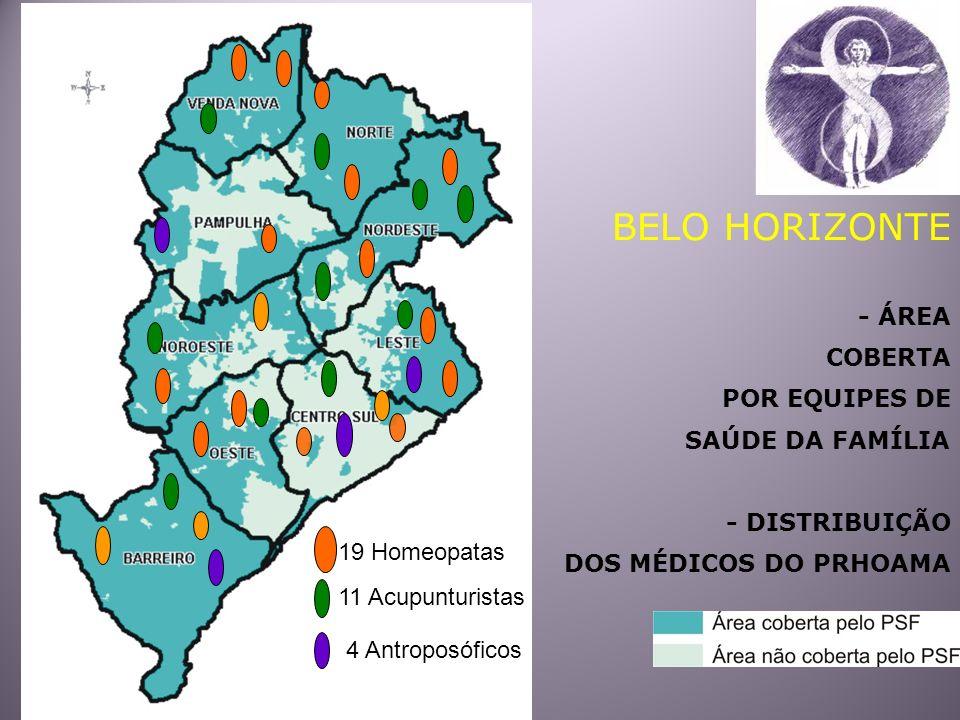 BELO HORIZONTE - ÁREA COBERTA POR EQUIPES DE SAÚDE DA FAMÍLIA - DISTRIBUIÇÃO DOS MÉDICOS DO PRHOAMA 19 Homeopatas 11 Acupunturistas 4 Antroposóficos