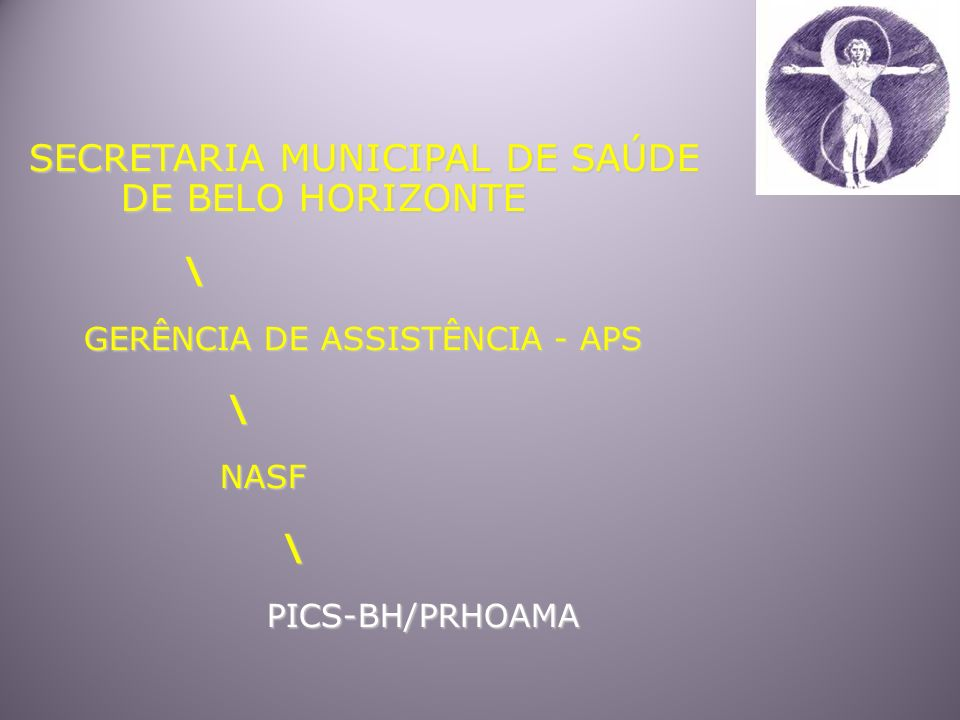 SECRETARIA MUNICIPAL DE SAÚDE DE BELO HORIZONTE DE BELO HORIZONTE \ GERÊNCIA DE ASSISTÊNCIA - APS GERÊNCIA DE ASSISTÊNCIA - APS \ NASF NASF \ PICS-BH/