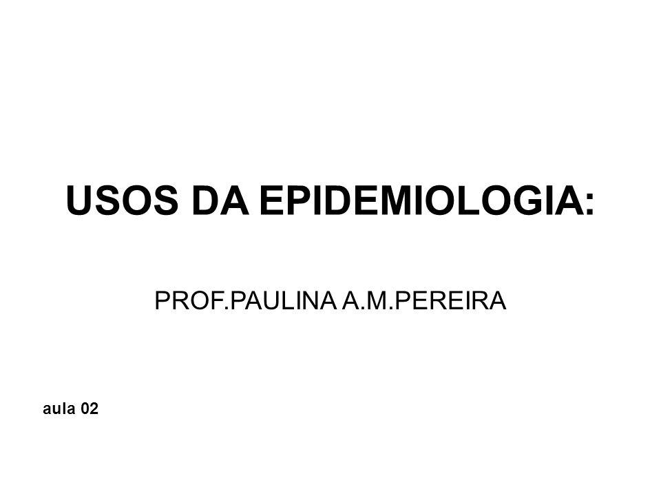 Principais usos da epidemiologia A Epidemiologia já tem uma longa tradição como método para o estudo da distribuição de um problema de saúde na população e para a investigação das razões desta distribuição.