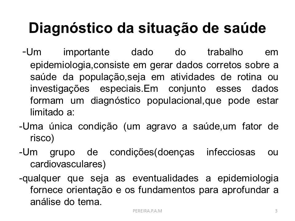 Diagnóstico da situação de saúde - Um importante dado do trabalho em epidemiologia,consiste em gerar dados corretos sobre a saúde da população,seja em