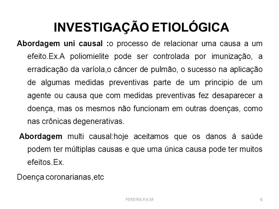 BIBLIOGRAFIA PEREIRA, M.G.Epidemiologia Teoria e Prática.