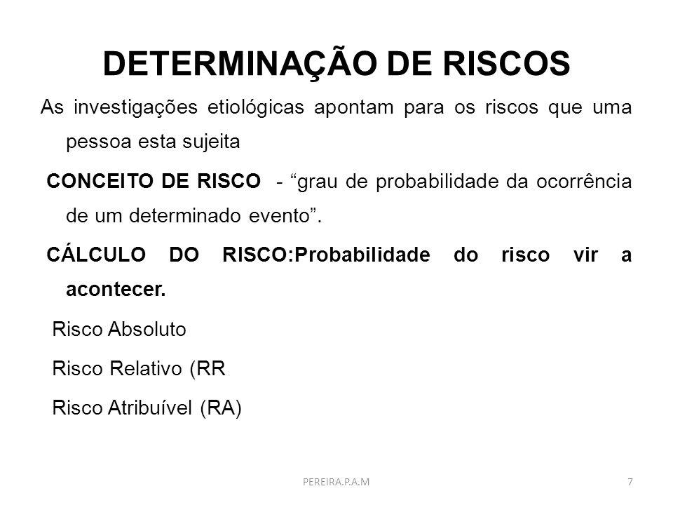 DETERMINAÇÃO DE RISCOS As investigações etiológicas apontam para os riscos que uma pessoa esta sujeita CONCEITO DE RISCO - grau de probabilidade da oc