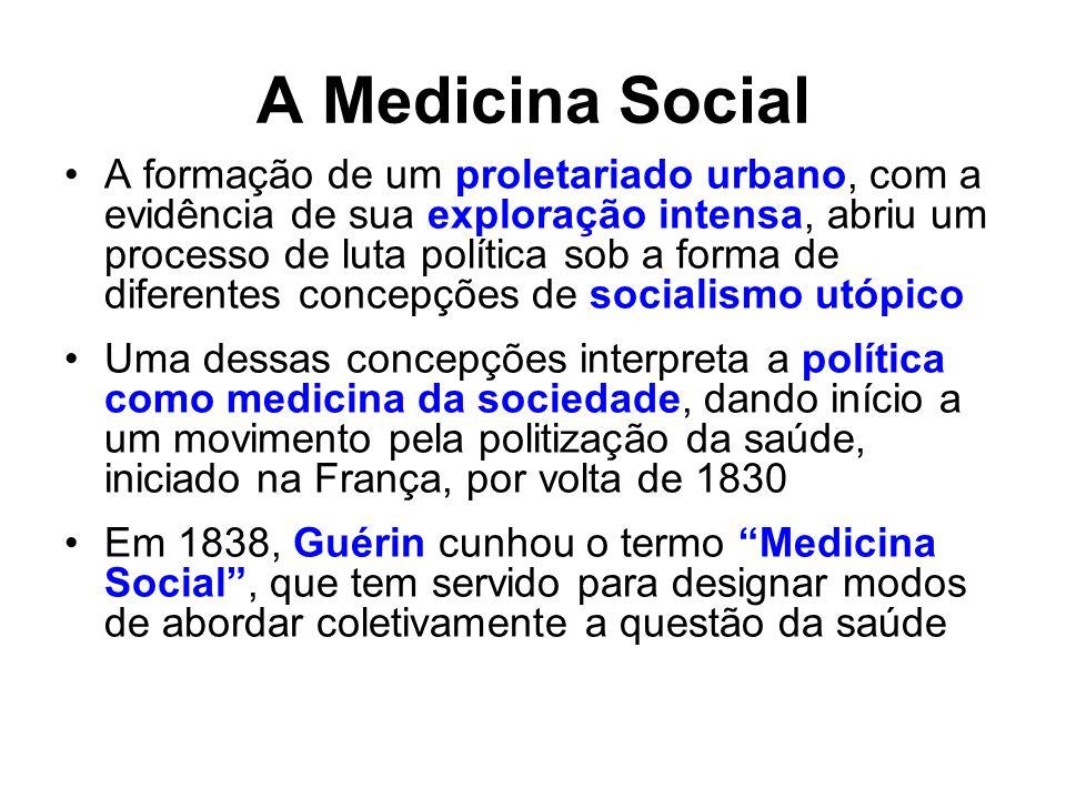 A Medicina Social A formação de um proletariado urbano, com a evidência de sua exploração intensa, abriu um processo de luta política sob a forma de d