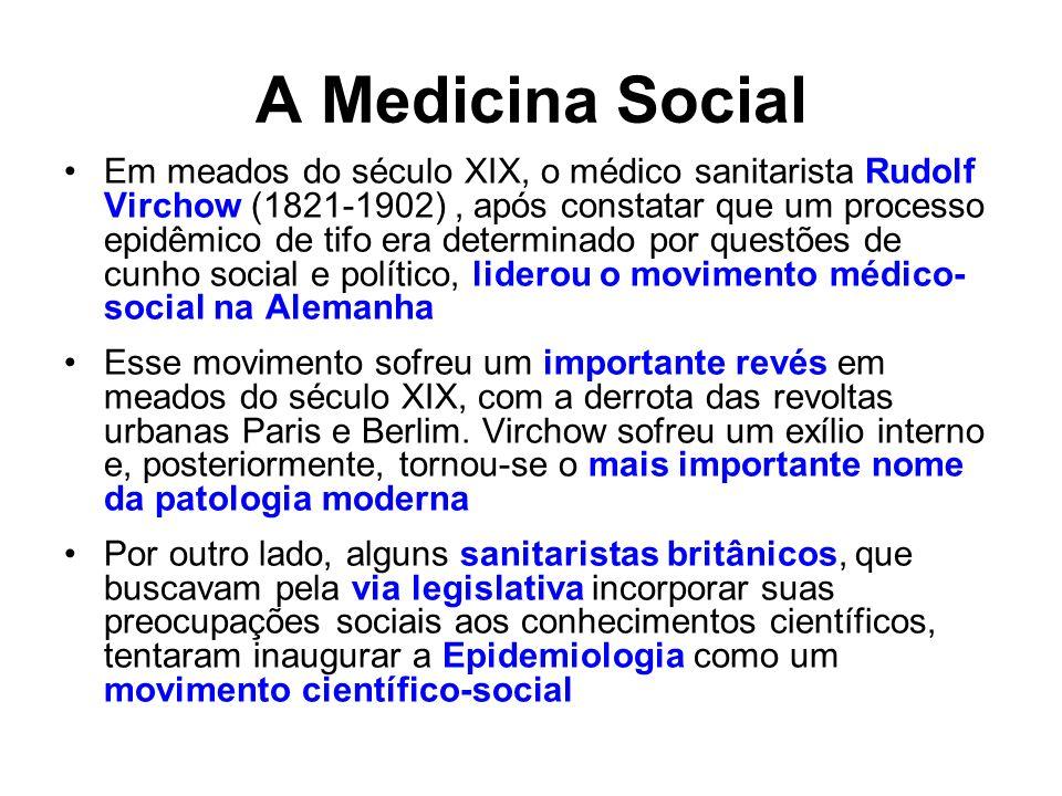 A Medicina Social Em meados do século XIX, o médico sanitarista Rudolf Virchow (1821-1902), após constatar que um processo epidêmico de tifo era deter