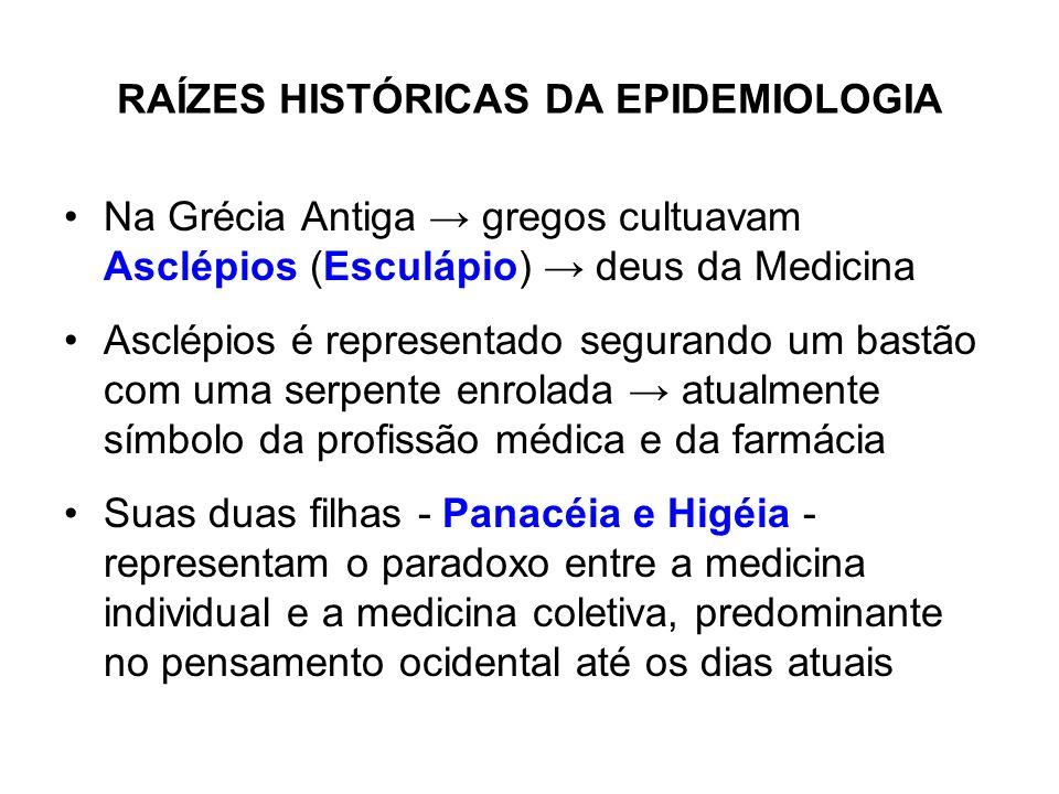 RAÍZES HISTÓRICAS DA EPIDEMIOLOGIA Na Grécia Antiga gregos cultuavam Asclépios (Esculápio) deus da Medicina Asclépios é representado segurando um bast