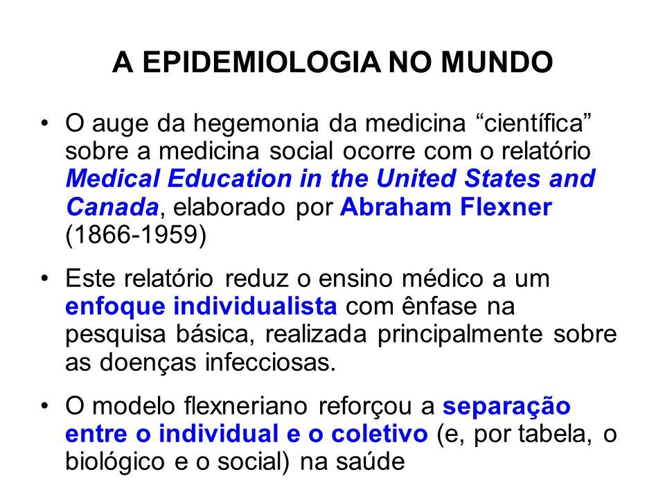 A EPIDEMIOLOGIA NO MUNDO O auge da hegemonia da medicina científica sobre a medicina social ocorre com o relatório Medical Education in the United Sta
