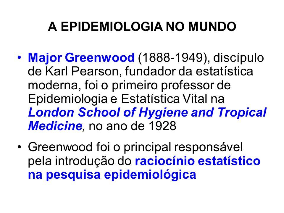 A EPIDEMIOLOGIA NO MUNDO Major Greenwood (1888-1949), discípulo de Karl Pearson, fundador da estatística moderna, foi o primeiro professor de Epidemio