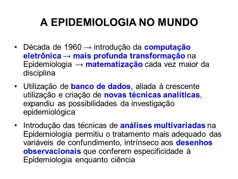 A EPIDEMIOLOGIA NO MUNDO Década de 1960 introdução da computação eletrônica mais profunda transformação na Epidemiologia matematização cada vez maior