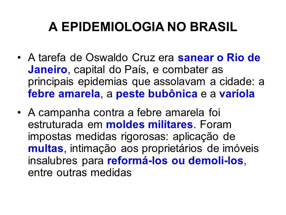 A EPIDEMIOLOGIA NO BRASIL A tarefa de Oswaldo Cruz era sanear o Rio de Janeiro, capital do País, e combater as principais epidemias que assolavam a ci