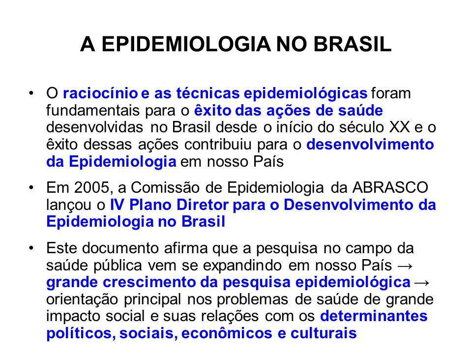 A EPIDEMIOLOGIA NO BRASIL O raciocínio e as técnicas epidemiológicas foram fundamentais para o êxito das ações de saúde desenvolvidas no Brasil desde