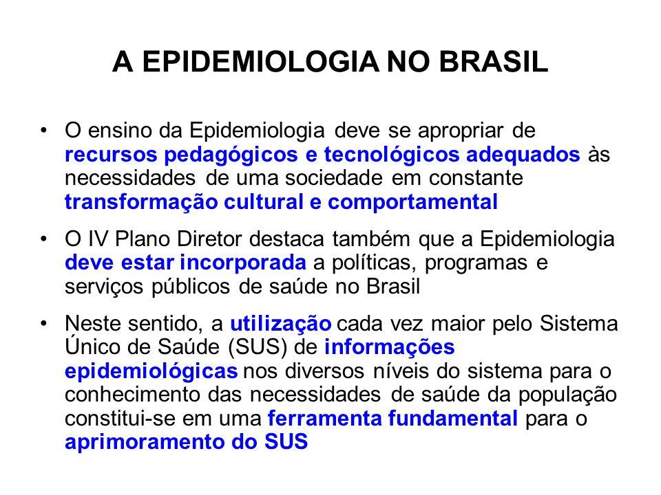 A EPIDEMIOLOGIA NO BRASIL O ensino da Epidemiologia deve se apropriar de recursos pedagógicos e tecnológicos adequados às necessidades de uma sociedad