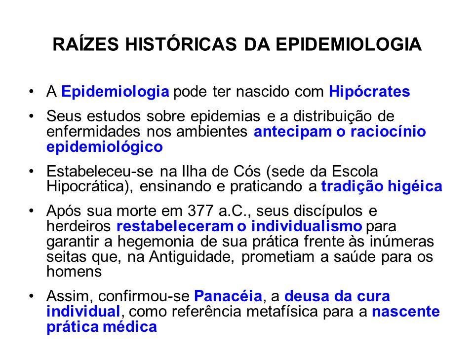 RAÍZES HISTÓRICAS DA EPIDEMIOLOGIA A Epidemiologia pode ter nascido com Hipócrates Seus estudos sobre epidemias e a distribuição de enfermidades nos a