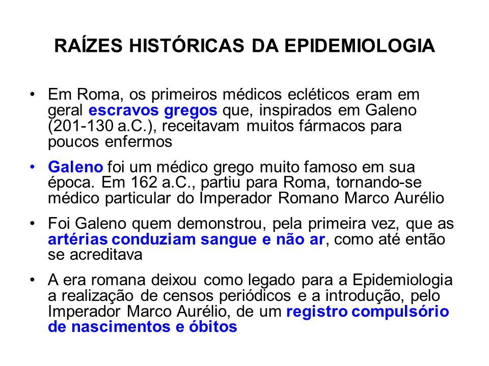 RAÍZES HISTÓRICAS DA EPIDEMIOLOGIA Em Roma, os primeiros médicos ecléticos eram em geral escravos gregos que, inspirados em Galeno (201-130 a.C.), rec