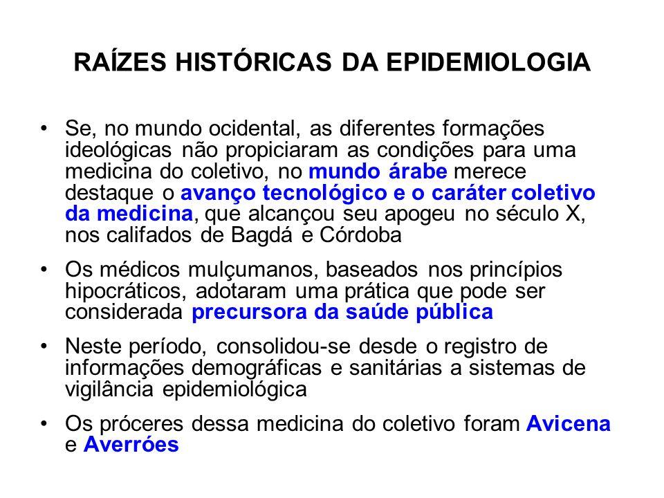 RAÍZES HISTÓRICAS DA EPIDEMIOLOGIA Se, no mundo ocidental, as diferentes formações ideológicas não propiciaram as condições para uma medicina do colet
