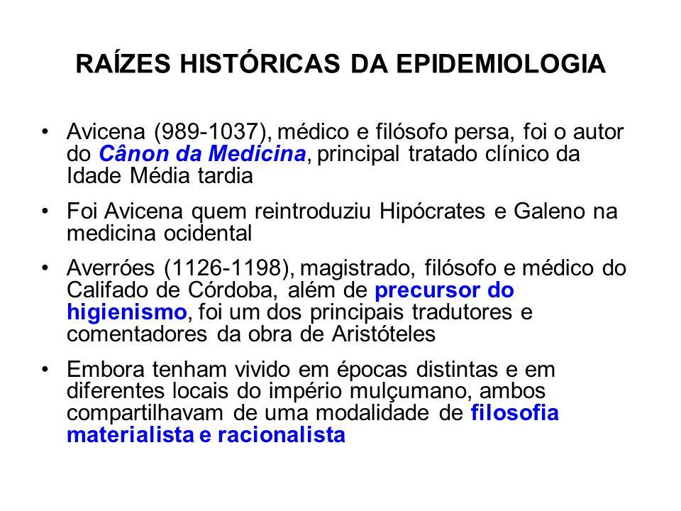 RAÍZES HISTÓRICAS DA EPIDEMIOLOGIA Avicena (989-1037), médico e filósofo persa, foi o autor do Cânon da Medicina, principal tratado clínico da Idade M