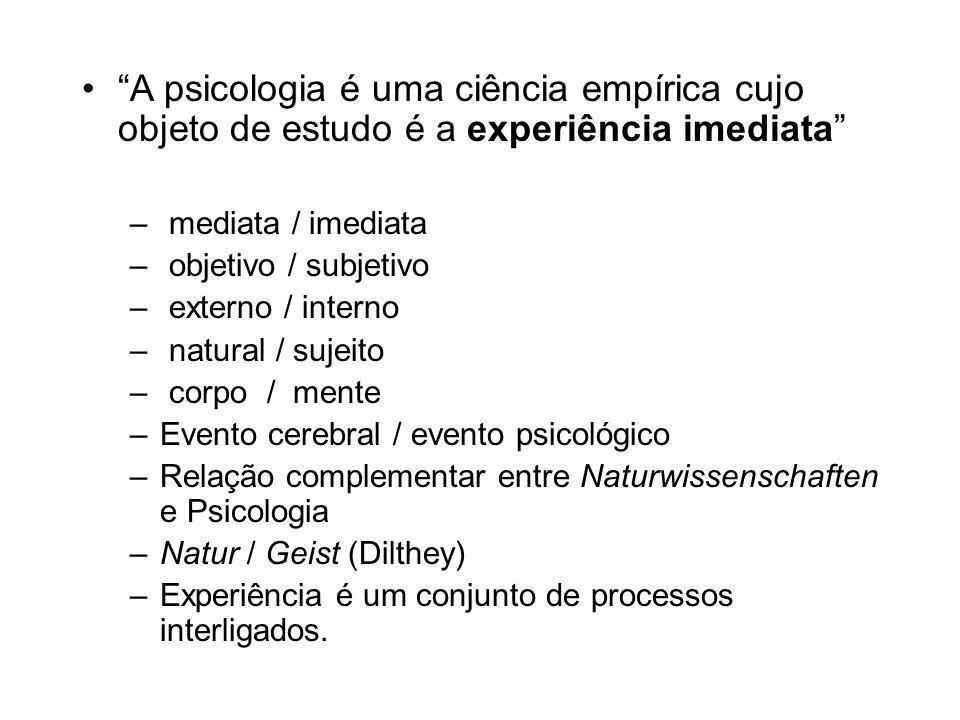 A psicologia é uma ciência empírica cujo objeto de estudo é a experiência imediata – mediata / imediata – objetivo / subjetivo – externo / interno – natural / sujeito – corpo / mente –Evento cerebral / evento psicológico –Relação complementar entre Naturwissenschaften e Psicologia –Natur / Geist (Dilthey) –Experiência é um conjunto de processos interligados.