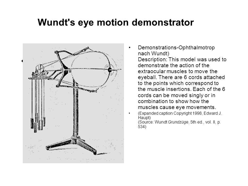 Wundt's eye motion demonstrator Demonstrations-Ophthalmotrop nach Wundt) Description: This model was used to demonstrate the action of the extraocular