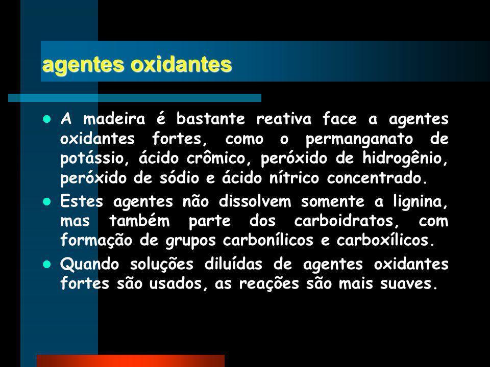 agentes oxidantes A madeira é bastante reativa face a agentes oxidantes fortes, como o permanganato de potássio, ácido crômico, peróxido de hidrogênio