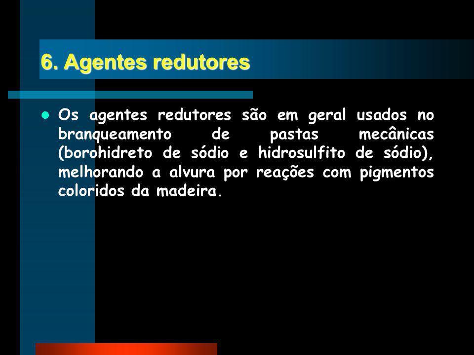 6. Agentes redutores Os agentes redutores são em geral usados no branqueamento de pastas mecânicas (borohidreto de sódio e hidrosulfito de sódio), mel