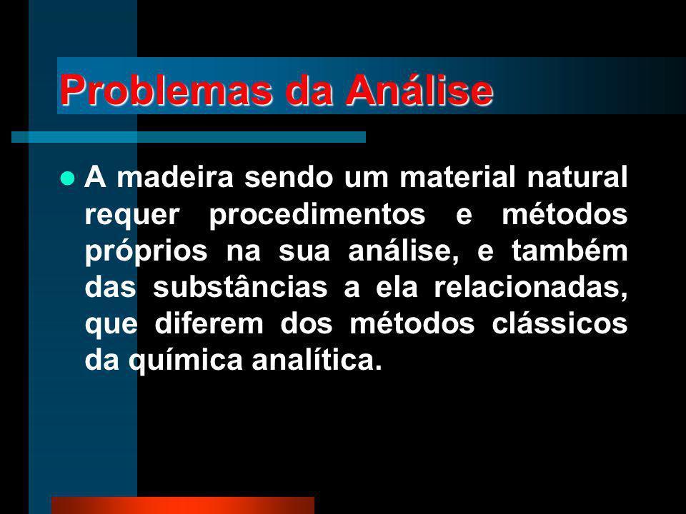Problemas da Análise A madeira sendo um material natural requer procedimentos e métodos próprios na sua análise, e também das substâncias a ela relaci