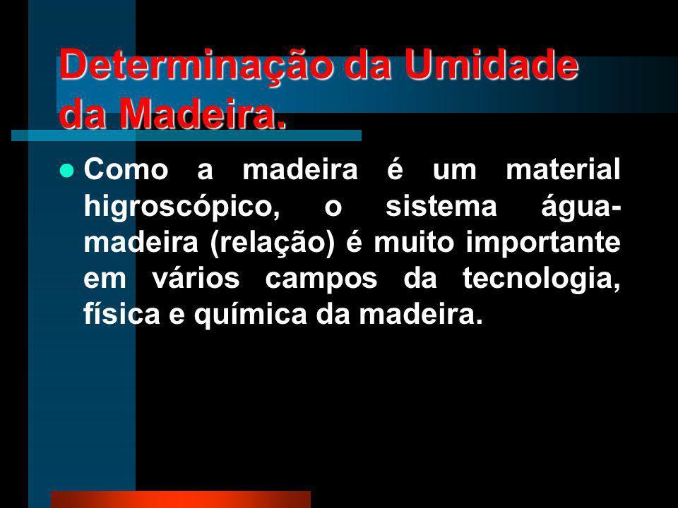 Determinação da Umidade da Madeira. Como a madeira é um material higroscópico, o sistema água- madeira (relação) é muito importante em vários campos d
