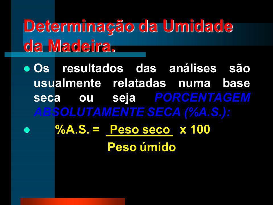 Determinação da Umidade da Madeira. Os resultados das análises são usualmente relatadas numa base seca ou seja PORCENTAGEM ABSOLUTAMENTE SECA (%A.S.):