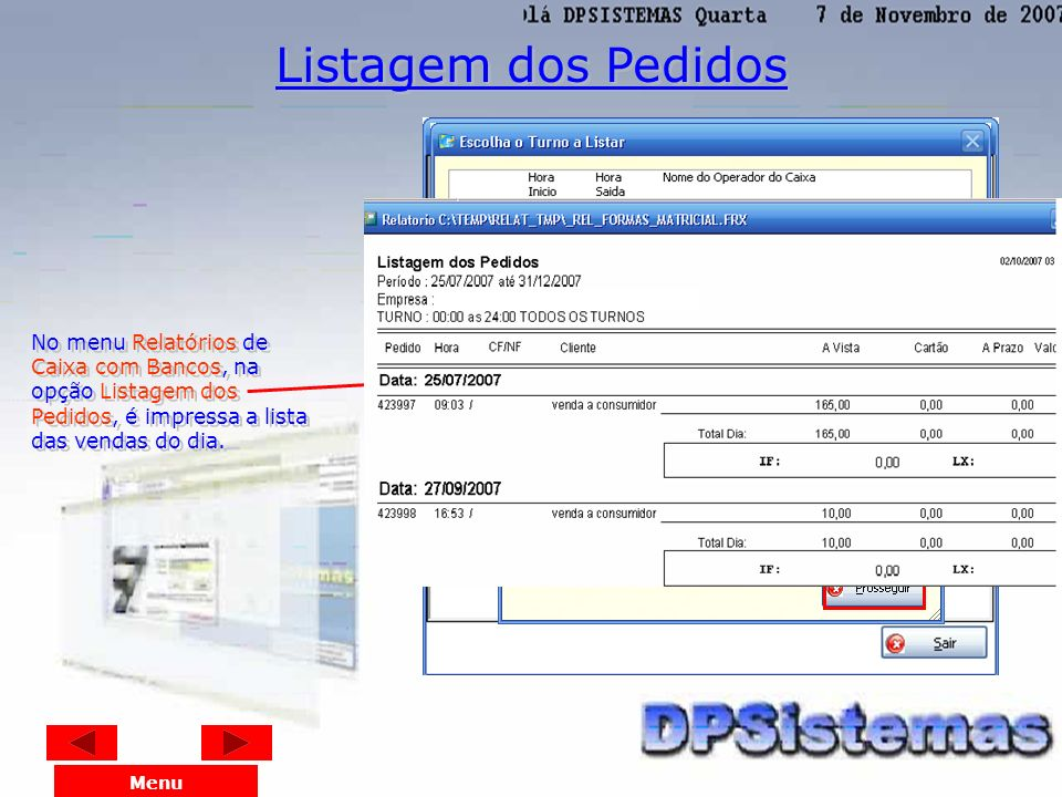 No menu Relatórios de Caixa com Bancos, a opção Livro Caixa Diário é feito o filtro da impressão da movimentação dos caixas da empresa, incluindo as v