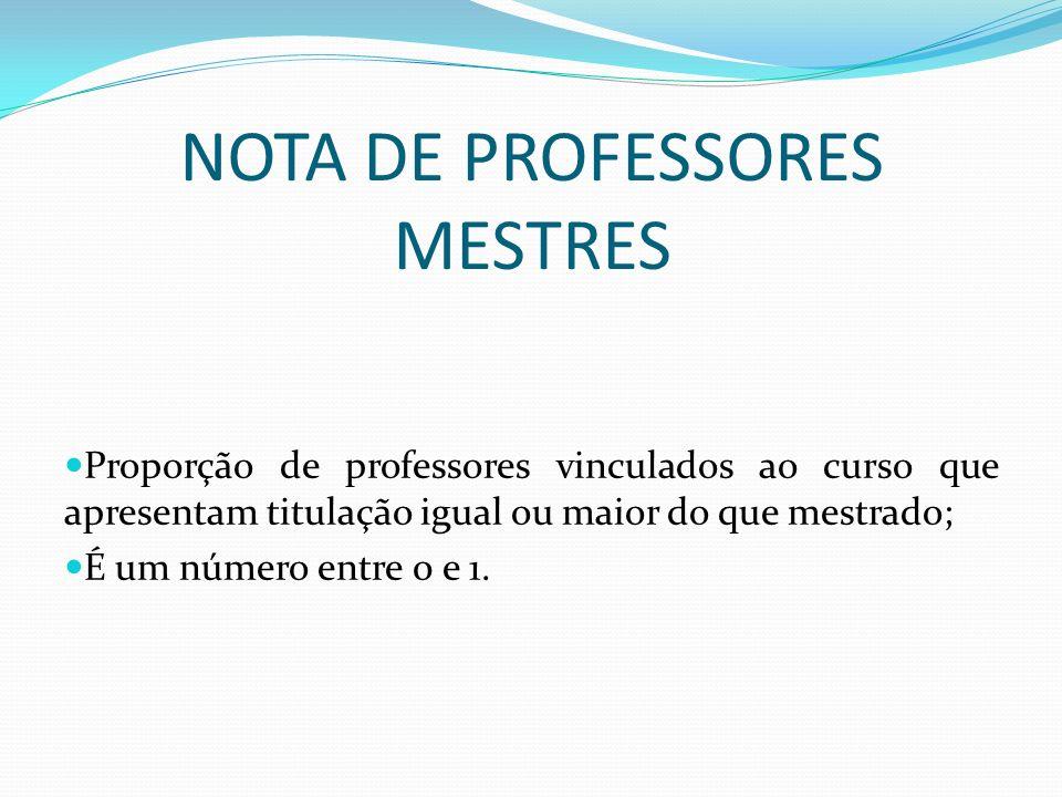 NOTA DE PROFESSORES MESTRES Proporção de professores vinculados ao curso que apresentam titulação igual ou maior do que mestrado; É um número entre 0