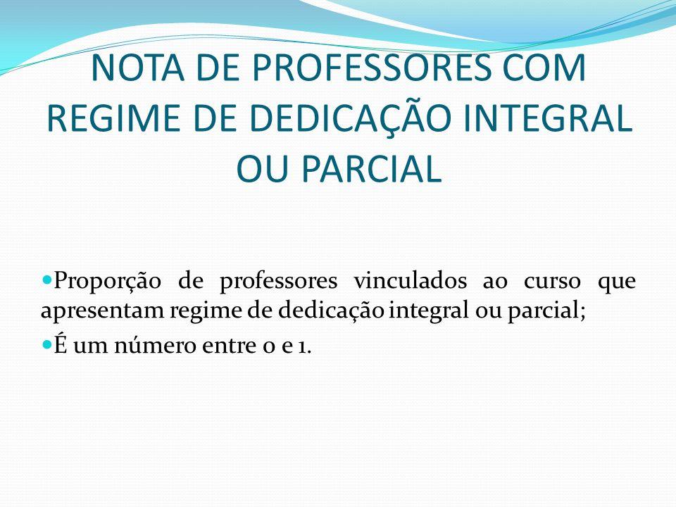 NOTA DE PROFESSORES COM REGIME DE DEDICAÇÃO INTEGRAL OU PARCIAL Proporção de professores vinculados ao curso que apresentam regime de dedicação integr