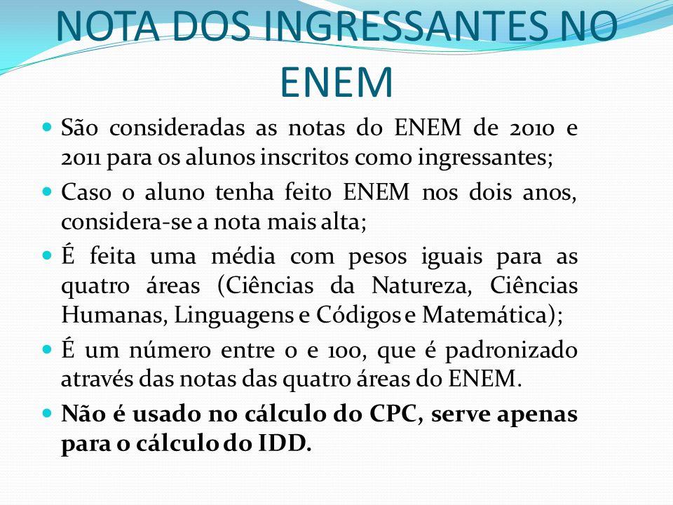 NOTA DOS INGRESSANTES NO ENEM São consideradas as notas do ENEM de 2010 e 2011 para os alunos inscritos como ingressantes; Caso o aluno tenha feito EN
