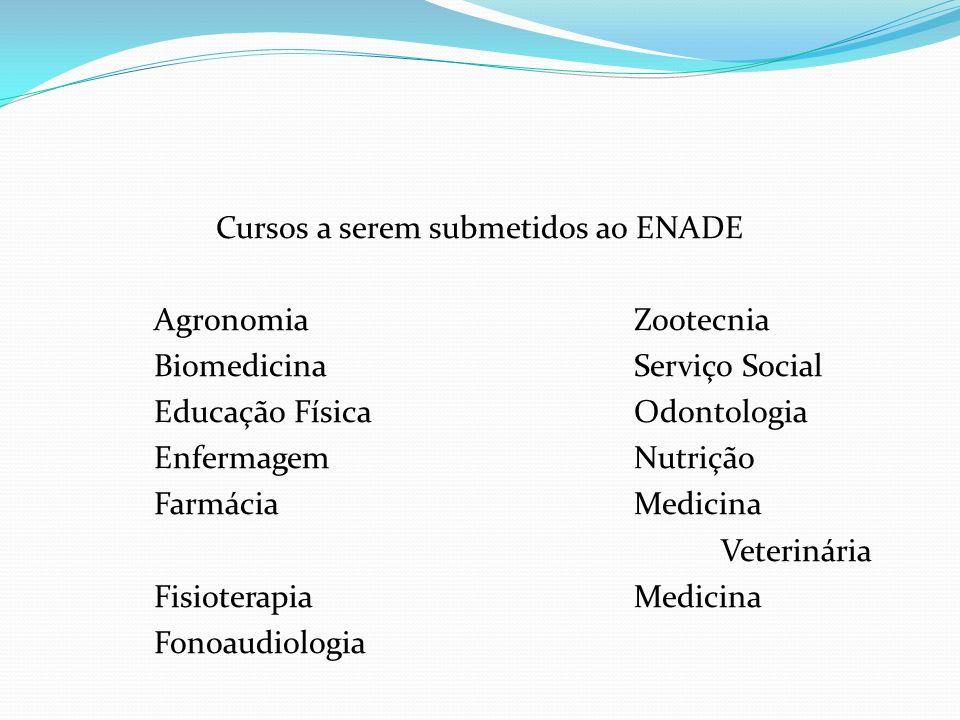 Cursos a serem submetidos ao ENADE AgronomiaZootecnia BiomedicinaServiço Social Educação FísicaOdontologia EnfermagemNutrição FarmáciaMedicina Veterin