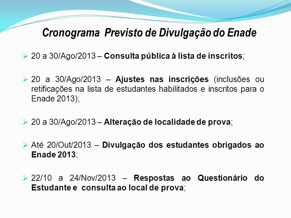 20 a 30/Ago/2013 – Consulta pública à lista de inscritos; 20 a 30/Ago/2013 – Ajustes nas inscrições (inclusões ou retificações na lista de estudantes