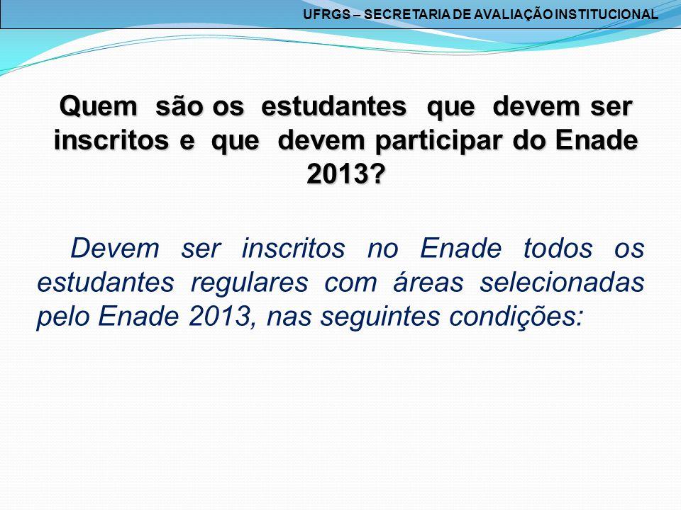Quem são os estudantes que devem ser inscritos e que devem participar do Enade 2013? Devem ser inscritos no Enade todos os estudantes regulares com ár