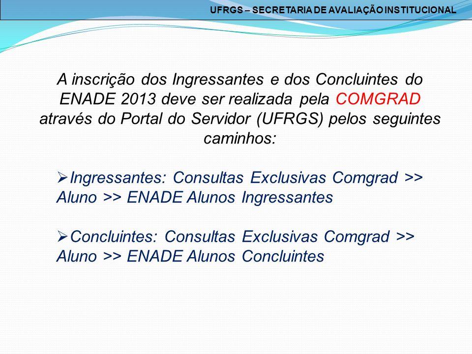 A inscrição dos Ingressantes e dos Concluintes do ENADE 2013 deve ser realizada pela COMGRAD através do Portal do Servidor (UFRGS) pelos seguintes cam