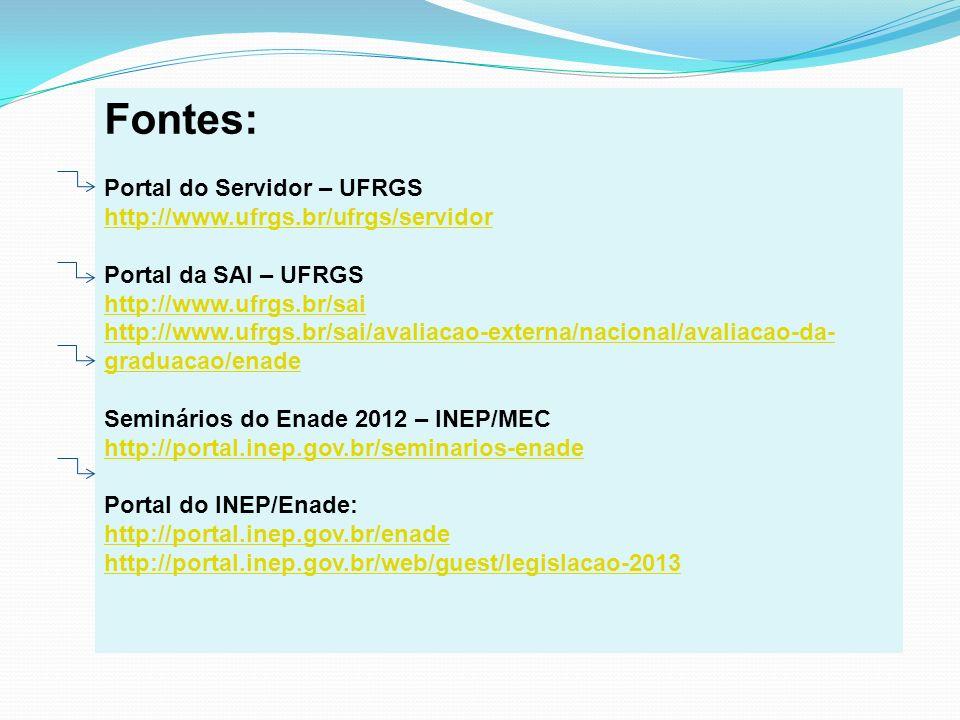 Fontes: Portal do Servidor – UFRGS http://www.ufrgs.br/ufrgs/servidor Portal da SAI – UFRGS http://www.ufrgs.br/sai http://www.ufrgs.br/sai/avaliacao-