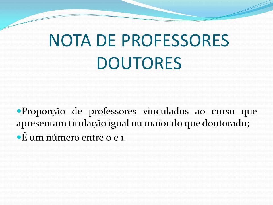 NOTA DE PROFESSORES DOUTORES Proporção de professores vinculados ao curso que apresentam titulação igual ou maior do que doutorado; É um número entre