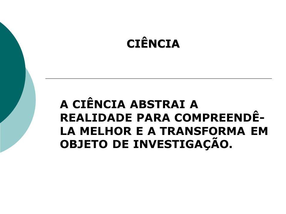 CIÊNCIA A CIÊNCIA ABSTRAI A REALIDADE PARA COMPREENDÊ- LA MELHOR E A TRANSFORMA EM OBJETO DE INVESTIGAÇÃO.