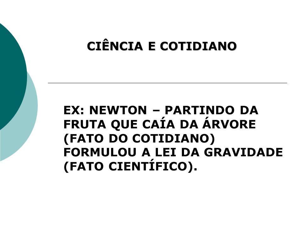 CIÊNCIA E COTIDIANO EX: NEWTON – PARTINDO DA FRUTA QUE CAÍA DA ÁRVORE (FATO DO COTIDIANO) FORMULOU A LEI DA GRAVIDADE (FATO CIENTÍFICO).
