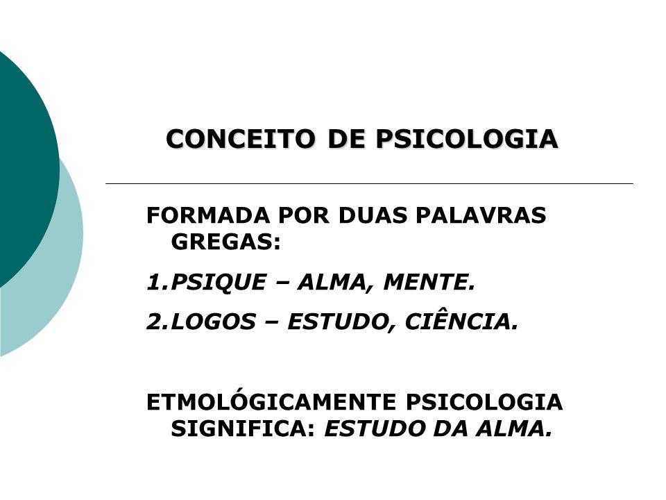 CONCEITO DE PSICOLOGIA FORMADA POR DUAS PALAVRAS GREGAS: 1.PSIQUE – ALMA, MENTE. 2.LOGOS – ESTUDO, CIÊNCIA. ETMOLÓGICAMENTE PSICOLOGIA SIGNIFICA: ESTU
