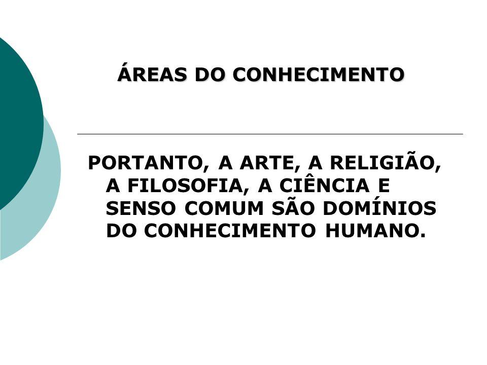 PORTANTO, A ARTE, A RELIGIÃO, A FILOSOFIA, A CIÊNCIA E SENSO COMUM SÃO DOMÍNIOS DO CONHECIMENTO HUMANO. ÁREAS DO CONHECIMENTO