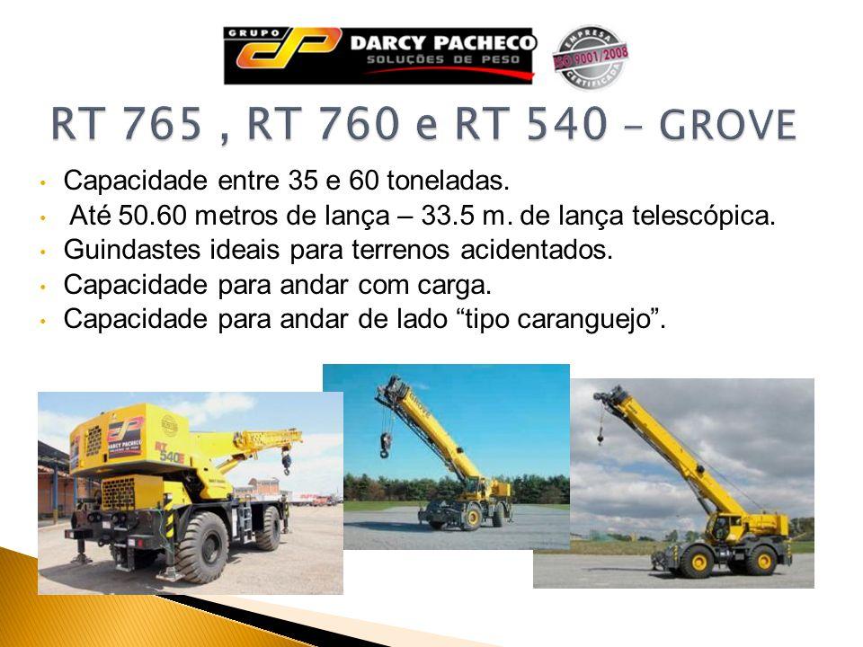 Capacidade entre 35 e 60 toneladas. Até 50.60 metros de lança – 33.5 m. de lança telescópica. Guindastes ideais para terrenos acidentados. Capacidade