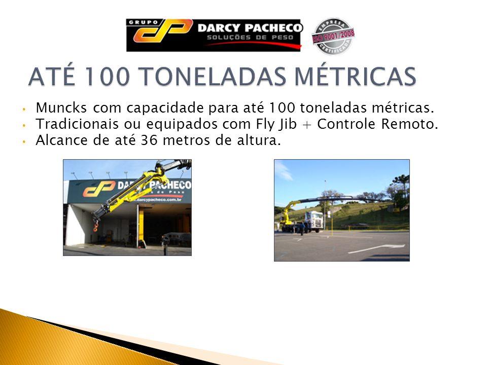 Muncks com capacidade para até 100 toneladas métricas. Tradicionais ou equipados com Fly Jib + Controle Remoto. Alcance de até 36 metros de altura.