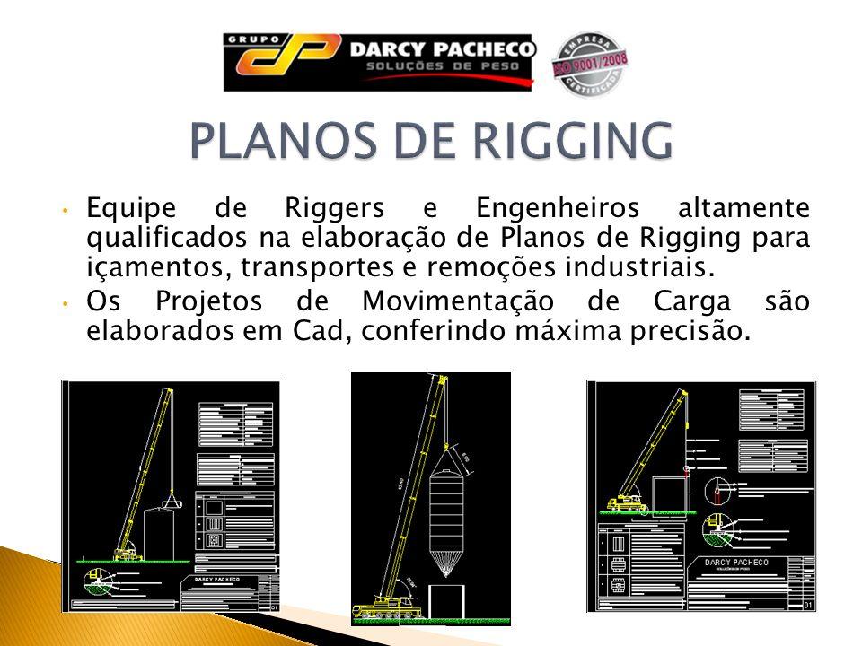Equipe de Riggers e Engenheiros altamente qualificados na elaboração de Planos de Rigging para içamentos, transportes e remoções industriais. Os Proje