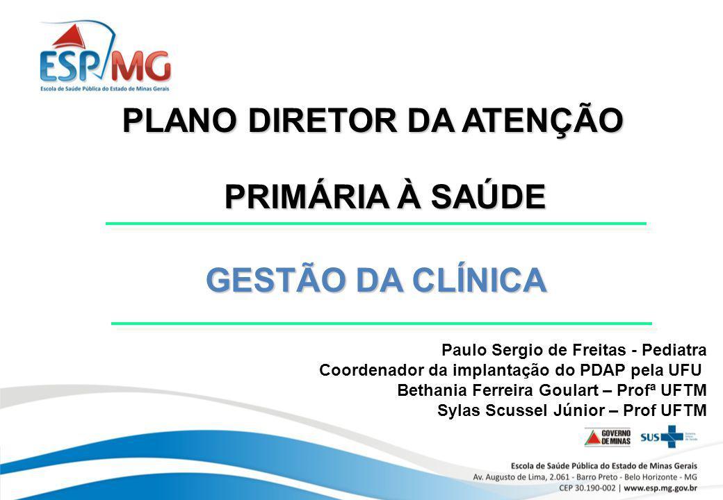 PLANO DIRETOR DA ATENÇÃO PRIMÁRIA À SAÚDE GESTÃO DA CLÍNICA GESTÃO DA CLÍNICA Paulo Sergio de Freitas - Pediatra Coordenador da implantação do PDAP pe