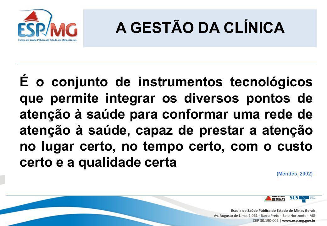 A GESTÃO DA CLÍNICA É o conjunto de instrumentos tecnológicos que permite integrar os diversos pontos de atenção à saúde para conformar uma rede de at