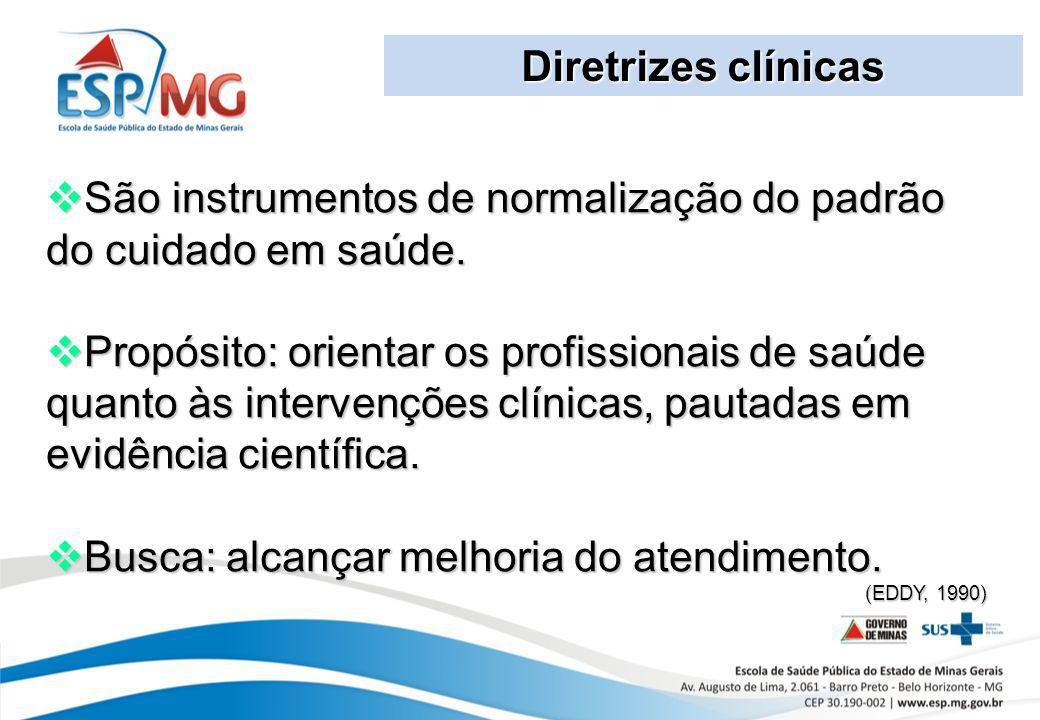 Diretrizes clínicas São instrumentos de normalização do padrão do cuidado em saúde. São instrumentos de normalização do padrão do cuidado em saúde. Pr