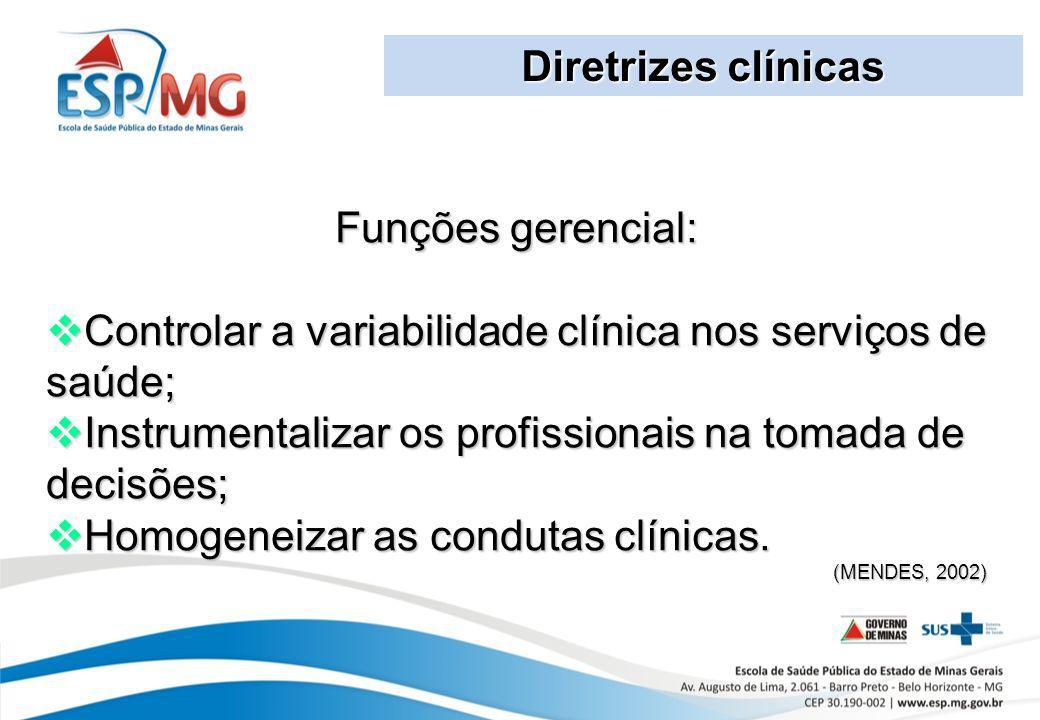 Diretrizes clínicas Funções gerencial: Controlar a variabilidade clínica nos serviços de saúde; Controlar a variabilidade clínica nos serviços de saúd
