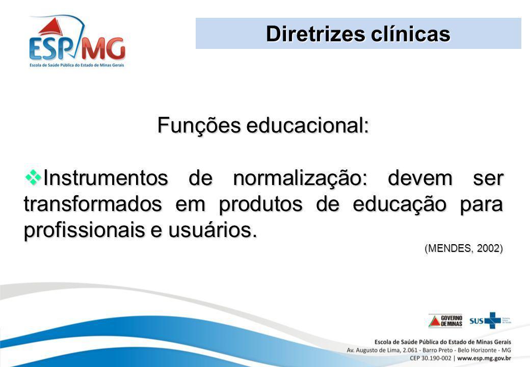 Diretrizes clínicas Funções educacional: Instrumentos de normalização: devem ser transformados em produtos de educação para profissionais e usuários.