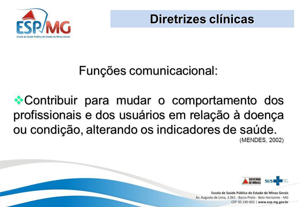 Diretrizes clínicas Funções comunicacional: Contribuir para mudar o comportamento dos profissionais e dos usuários em relação à doença ou condição, al