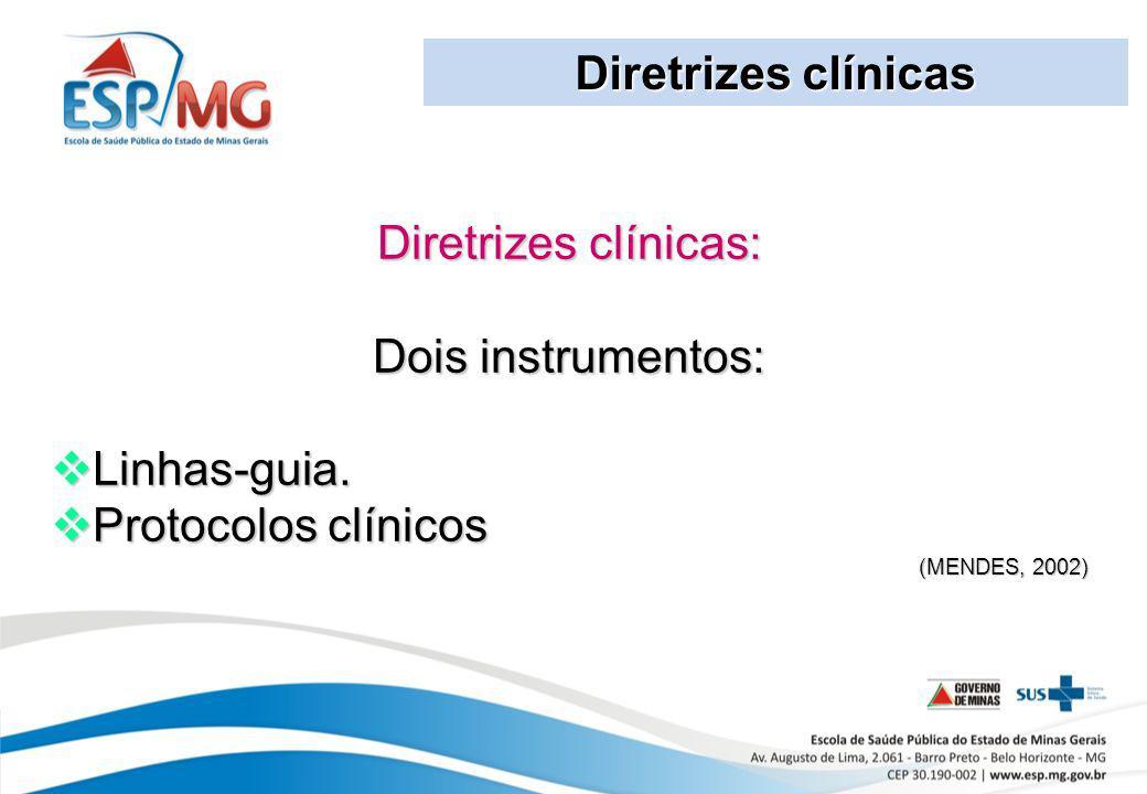 Diretrizes clínicas Diretrizes clínicas: Dois instrumentos: Linhas-guia. Linhas-guia. Protocolos clínicos Protocolos clínicos (MENDES, 2002)